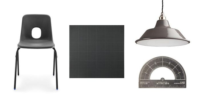 Get the school inspired look with these products.  Left to right: Large E Series chair, £38, SCP; Graphpaper tile, as above; Protractor pizza cutter £12.99, The Fowndry; Harris pendant, £135, Holloways of Ludlow