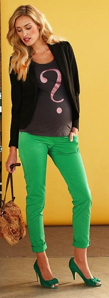 Skinny colour maternity jeans in green - such a great trend this year