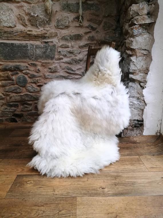 Giant Sheepskin Rug Throw Uk White Pelt Gray Rare Breed Organic Elf Kendal Hippies