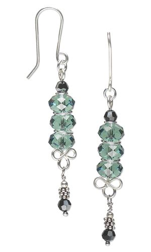 Earrings with Swarovski Crystal Beads, Sterling Silver Beads and Wirework