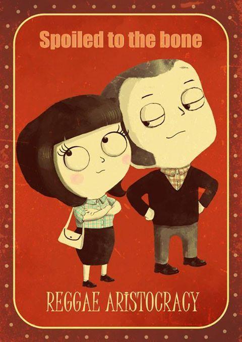 Reggae aristocracy - traditional skinhead couple illustration