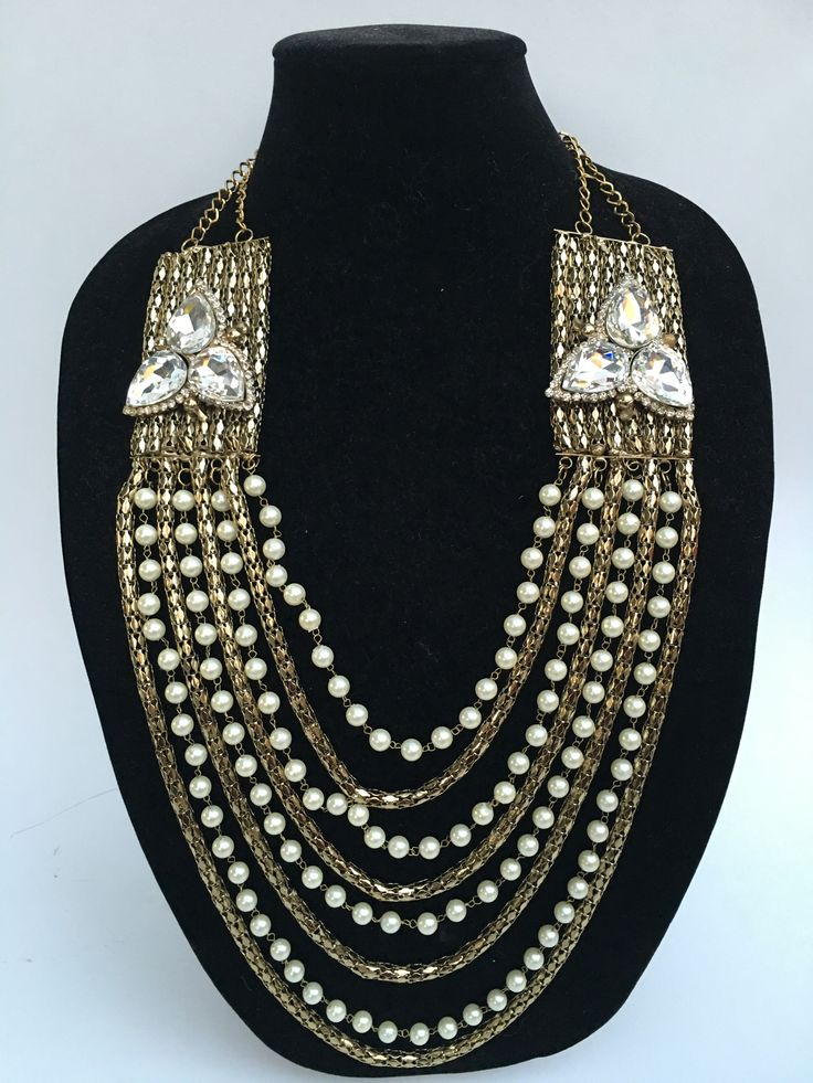 Long Pearl Necklace Set - Golden