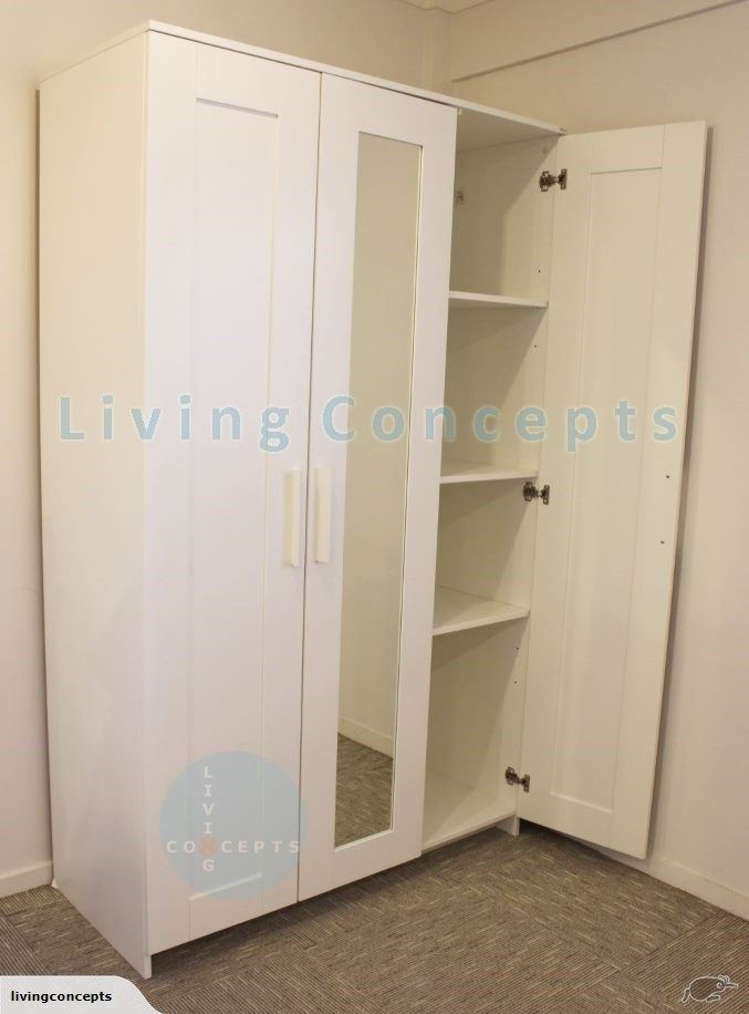 Ikea brimnes free standing wardrobe with mirror trade me for Ikea brimnes wardrobe hack