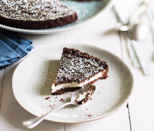 tarte chocolatée à la mousse coco.