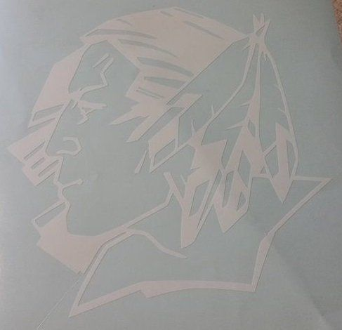 Fighting Sioux Vinyl Decal (8x8, white)