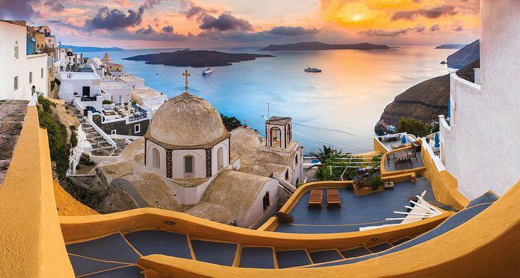 Celestial Island Dreams, Sunset at Thira (Fira) Santorini, Greece. #travel-paradise divine, greece