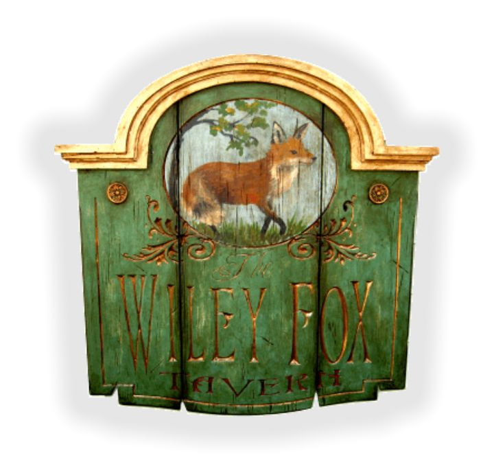 Colonial Tavern sign with painted fox