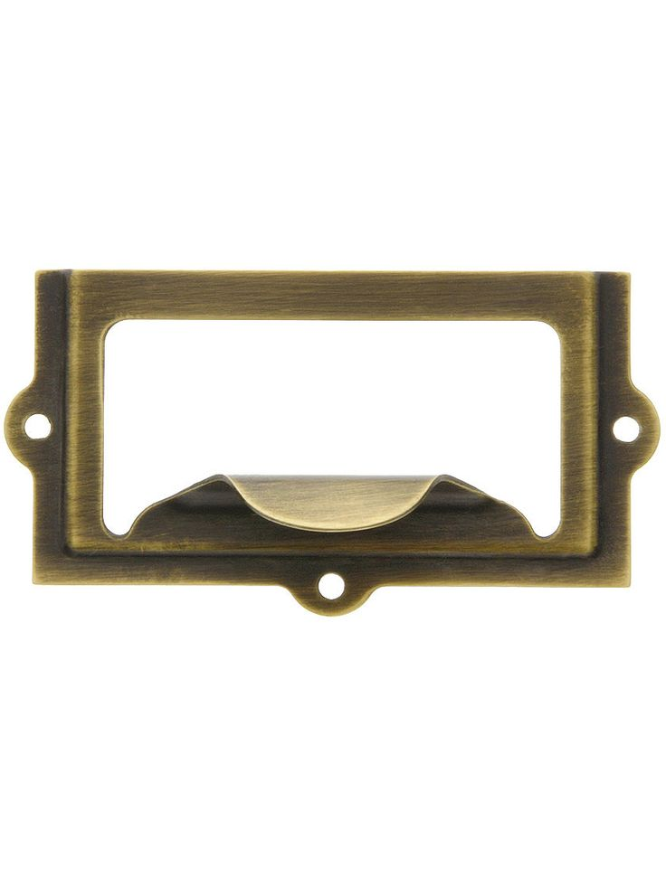 "2 5/8"" Stamped Brass Label Holder & Pull In AntiqueBy"