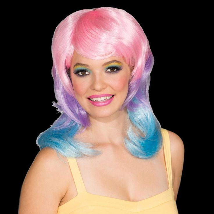 Starbucks Frappuccino inspiration. Tri-color Cotton Candy Wig costume hair clown dress up party circus stage doll  #Rubies #FullWig #Head2ToeTheatrical