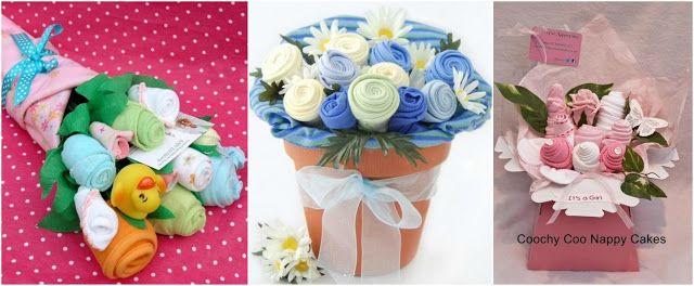 Ramo de flores y centros de mesa con calcetines de bebé ~ Solountip.com