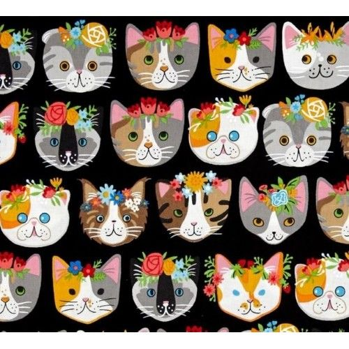 Cats Heads Cotton Fabric in Black |Fabric Traders