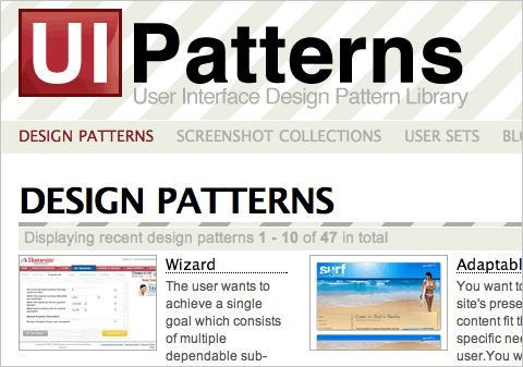 UI-patterns.com is a large collection of design patterns for UI designers to gain inspiration from. The site allows users to keep sets of their own (publicly accessible to site visitors) so that you can see other UI design pattern collections.