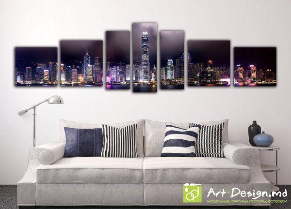 Модульная картина, Полиптих - Ночной Город 4 | Art-design.md - Модульные картины на заказ, широкоформатная печать в Кишиневе