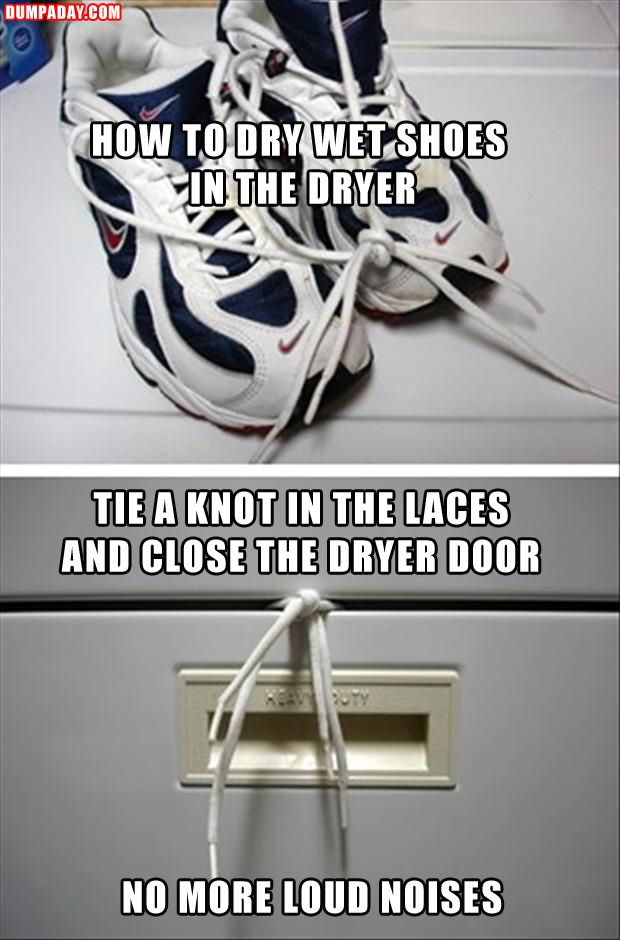 Must remember this one! Tested: laces must be short enough that shoes hang down and do not touch drum otherwise they swing around inside and fray the laces. Note, works best if nothing else is in the machine.