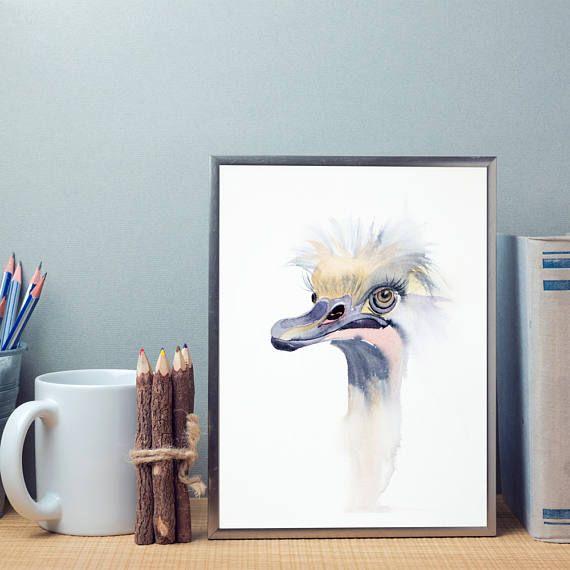 Ostrich watercolor print art Bird watercolor painting