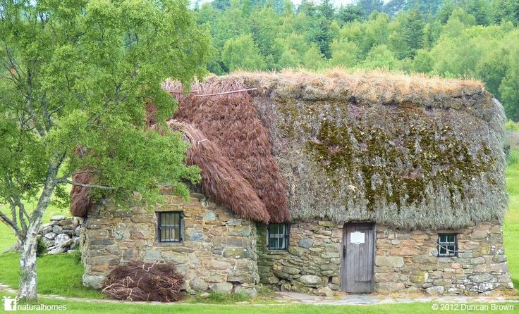 This beautiful little stone cottage [www.naturalhomes.org/leanach.htm] is Leanach Farmhouse in Culloden, Scotland. It has a rich history that included being used as a field hospital during the Battle of Culloden in 1746. Many centuries later the cottage now has a new red thatch made from heather. The cottage is loved and cared for by the National Trust using only natural materials.
