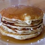 Johnnycakes. Basically pancakes that are 2/3 cornmeal and 1/3 flour. Common pioneer food.