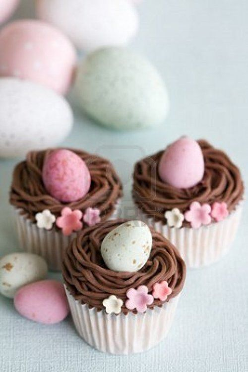 use with mini cupcakes and cadbury eggs. fill pastry bag with dark chocolate and milk chocolate or caramel frosting for two tones nest look. too cute!