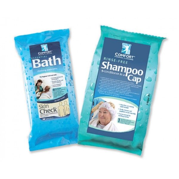Набор Шапочка для мытья головы Comfort Shampoo Cap и Салфетки влажные очищающие Essential Bath  Салфетки изготовлены из мягкого нетканого полотна, пропитанного чистящим раствором с добавлением экстракта алоэ и витамина Е. Гипоаллергенны, не содержат спирта, латекса, отдушек, не вызывают раздражения кожи и могут применяться на любой области тела, включая лицо. Эффективно очищают, увлажняют и смягчают кожу, нейтрализуют неприятные запахи, препятствуют размножению бактерий.