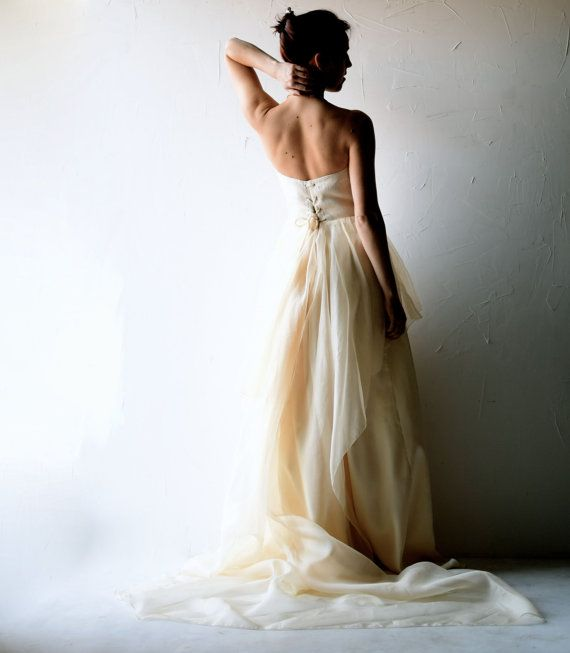 This stately, elegant gown is both romantic and effortless, flowing lightly around your body, following every breath of air.   Wedding dress, Boho wedding dress, Bohemian wedding dress, Pastel wedding dress, Alternative wedding dress, lace wedding dress, long train, color wedding dress, back, open back, romantic, champagne wedding dress,