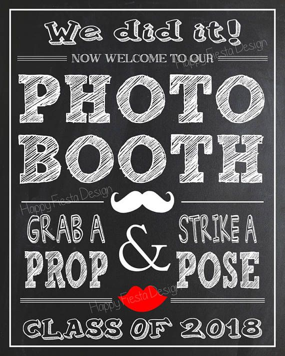 PRINTABLE Graduation Photo Booth Props 2018–2018 Graduation Props-Class of 2018 Props-Graduation Party Props-Instant Download