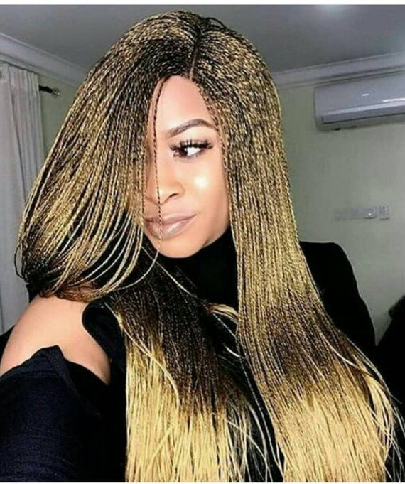 Braided Wigs Lace Front Braids Wig Senegalese Twist Micro Etsy Human Hair Wigs Blonde Dyed Blonde Hair Braids Wig