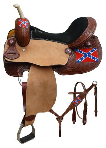 "15"", 16"" Double T Rebel flag barrel saddle set. This saddle features medium basket tooled skirts, pommel and cantle accented with red, clear and blue crystal rhinstone conchos. Pommel and skirt featur"