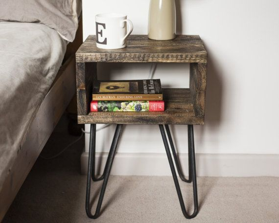 Chunky Box Shaped Bedside Table Made Out Of Reclaimed Pallet Wood With Steel Hairpin Industrial Bedside Tables Quirky Bedside Tables Bedside Table Small Space