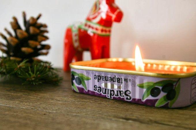 des sardines aux bougies (ou autre idée pour boite à sardines : pot pour petites plantes grasses)