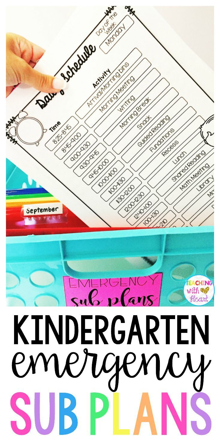 Be prepared for that unexpected sick day with emergency sub plans for kindergarten! 15+ activities that align with various Common Core State Standards let you customize sub plans that match what you're teaching right now! With minimal prep and copying, create an emergency sub tub with sub plans for each month so you'll be ready if you have to be out unexpected!
