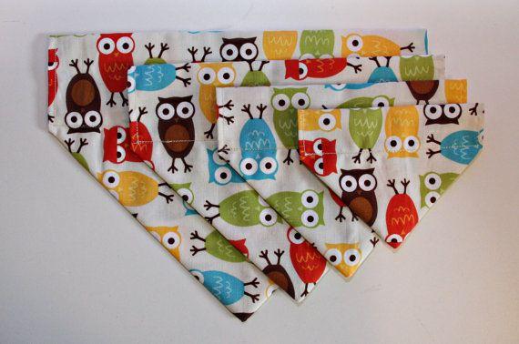 Bright Colourful Owl Dog Bandana No Tie by BonzaiGiftsPetNanny