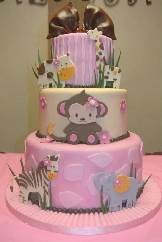 Baby girl Shower Cake - Love the Monkey in the middle :)