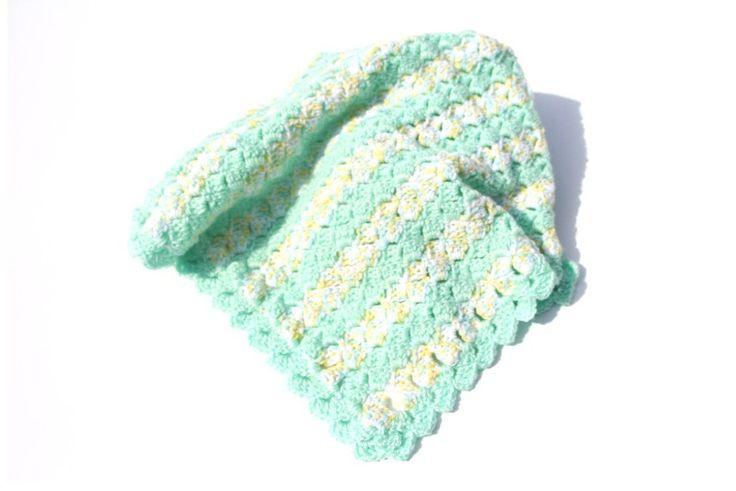 Green Baby Blanket, Striped Crochet Baby Blanket, Crochet Baby Blankets, Striped Baby Blanket, Car Seat Blanket, Stroller Blanket,Photo Prop by CraftCreationsbyRose on Etsy