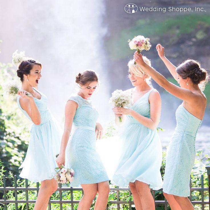 Blue chiffon bridesmaid dresses from Wedding Shoppe.