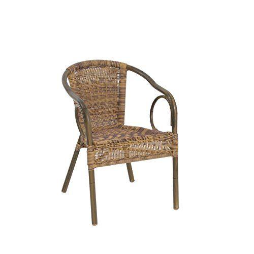 greemotion Rattan-Bistrostuhl Laos - Gartenstuhl braun in Bambus-Look - Rattanstuhl stapelbar, niedrige Rückenlehne - Stapelstuhl aus Polyrattan-Geflecht - Outdoor-Stuhl für Garten, Terrasse & Balkon