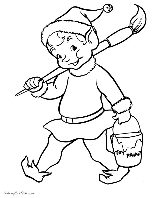 free printable elf coloring pictures