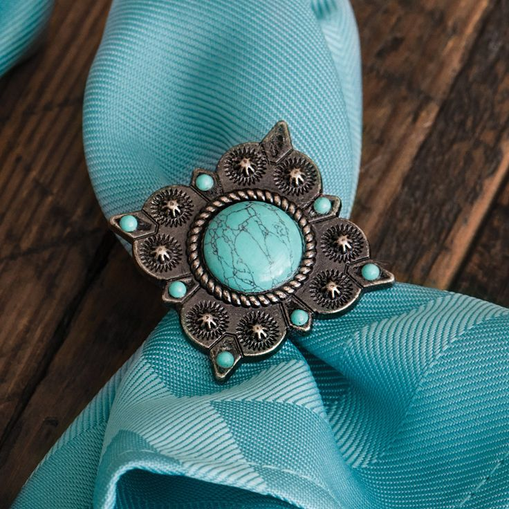 Turquoise Concho Napkin Rings (Set of 6)