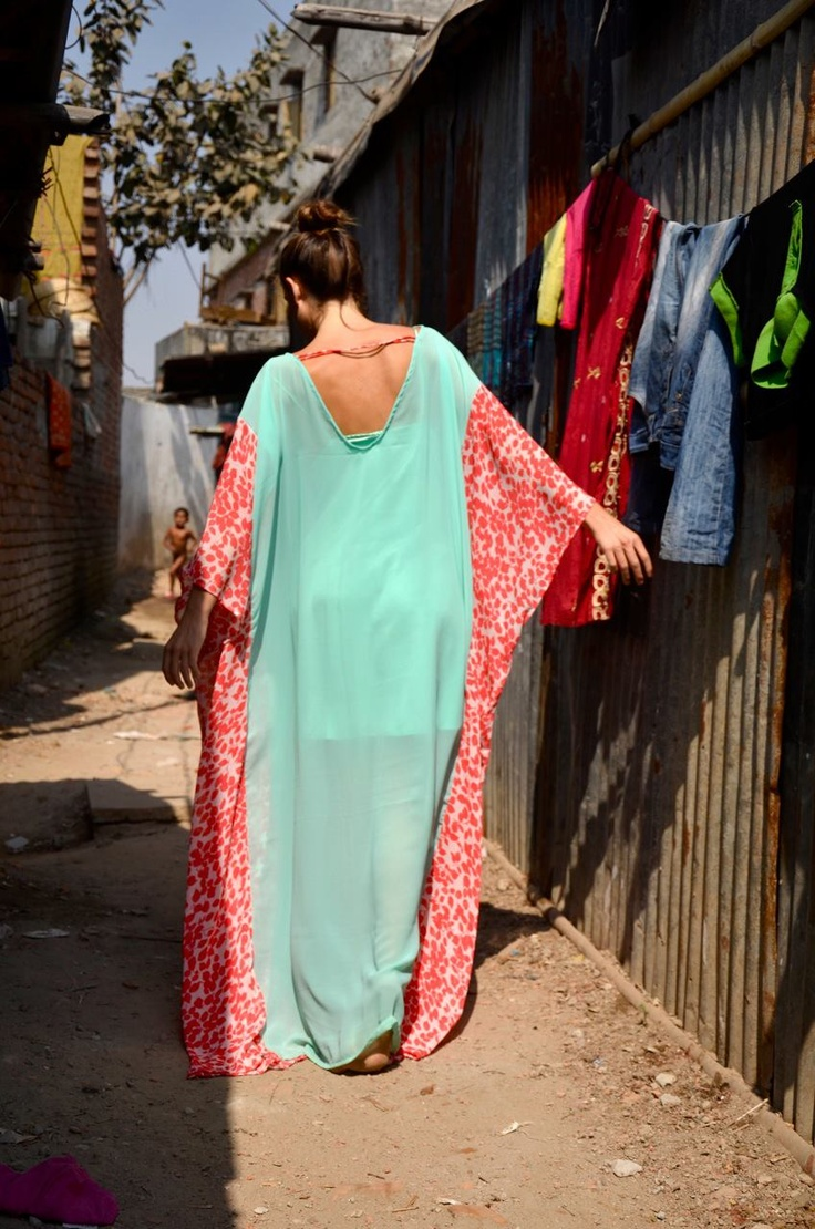 Behind the Scenes: Amanda on set in Bangladesh. Wearing the Arif Blue dress.