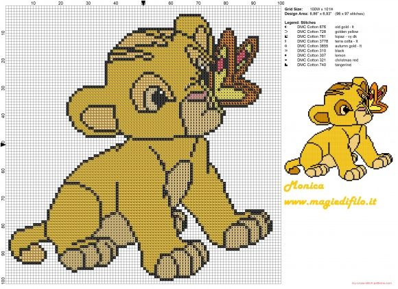 Little Simba (The Lion King) cross stitch pattern