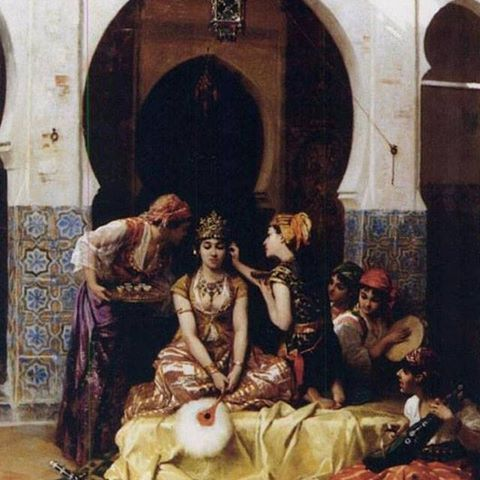 The jewelry adornment of the Algerian Bride . A painting by p.m.beyle