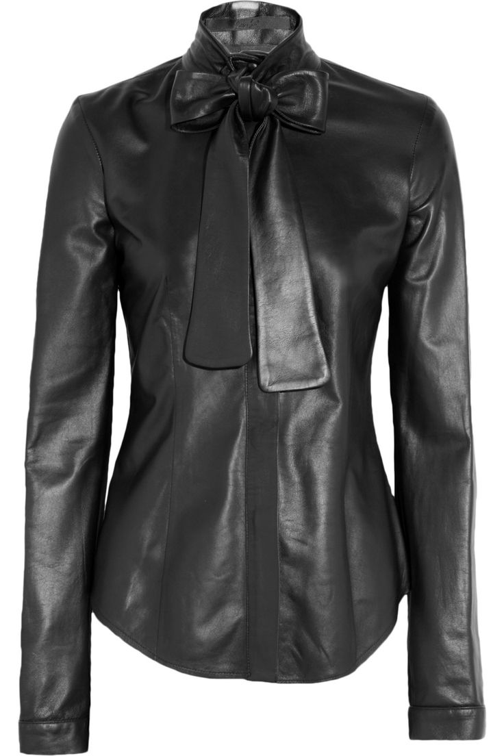 L'Wren Scott Leather pussy-bow shirt