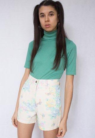 Green+Turtleneck+Short+Sleeves+Top+T-shirt
