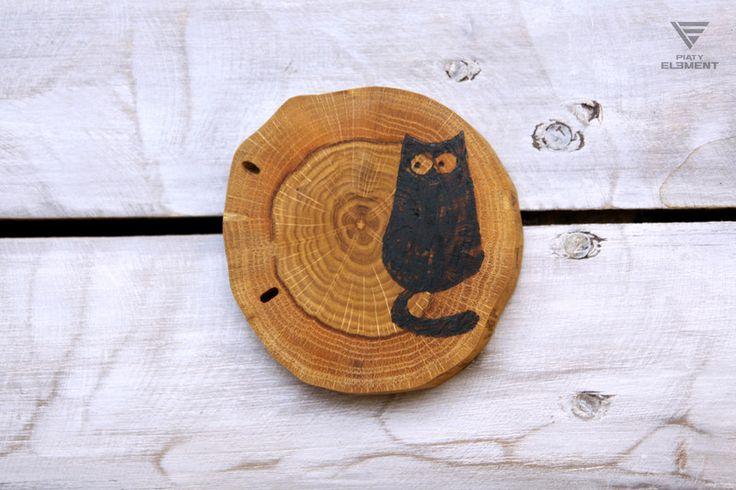 """Podstawka dębowa """"Gruby Czarny Kot"""" - PiatyElement - Dekoracja stołu"""