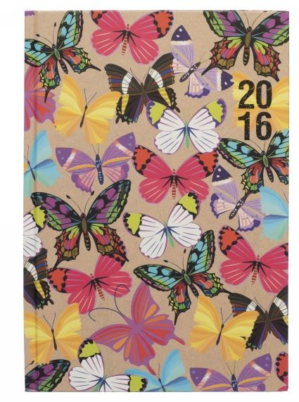This cheerful A5 2016 diary features a smart kraft effect with bright multi coloured butterflies. With a week to view design it features enough space to write your weekly appointments and notes. Inside features include, personal info, calendars, notable dates, travel information, conversions, forward planner 2017, addresses/telephone numbers and notes pages.