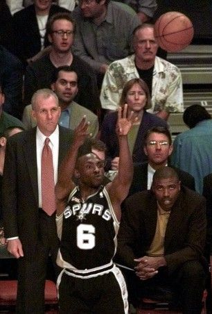 This Day In Basketball History: June 25,1999 - In Game 5 of the NBA Finals, the San Antonio Spurs' Avery Johnson hits a baseline jumper with 47 seconds remaining to give his team the lead against the New York Knicks. The Spurs victory marks the first time a former ABA franchise won the NBA title. Tim Duncan is named the Finals MVP, after contributing 27.4 points and 14.0 rebounds per game in the series.  keepinitrealsports.tumblr.com  keepinitrealsports.wordpress.com…
