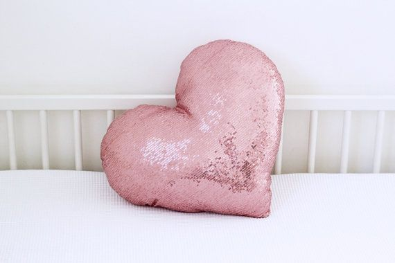 Pink metallic heart shaped sequins throw pillow. Perfect accent pillow for girls bedroom decor that would add a sparkle touch for your room decor! Great