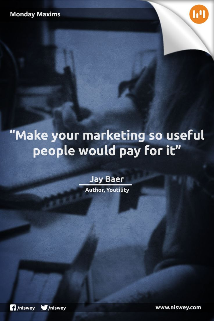 """Make your marketing so useful, people would pay for it."" - Jay Baer #MarketingTips #Marketing #MondayMaxims"