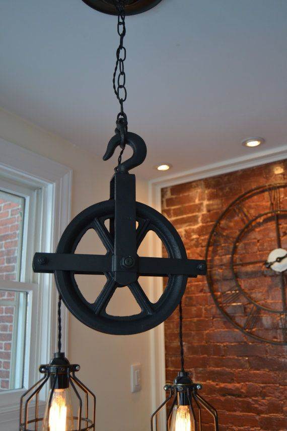 Repurposed Barn Pulley Industrial Light by WestNinthVintage & 249 best Vintage Pulley Lamp images on Pinterest | Pulley ... azcodes.com