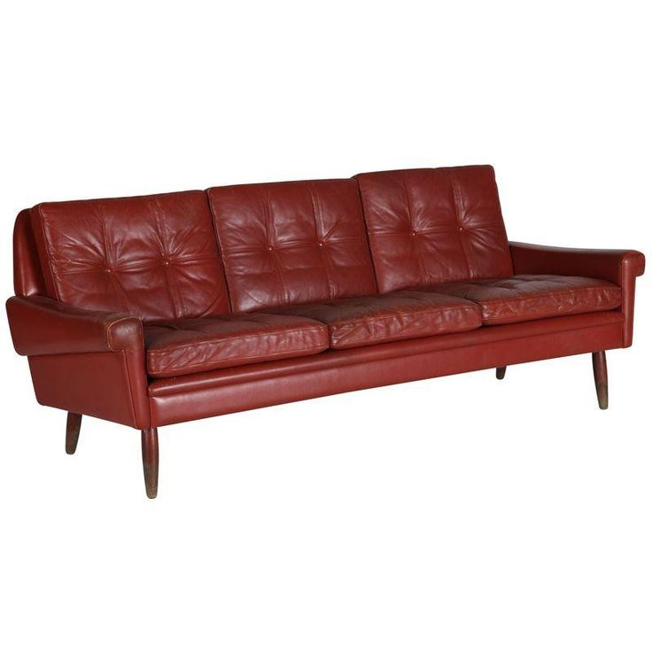 Mid-Century Red Leather Sofa - $1,800 On Chairish