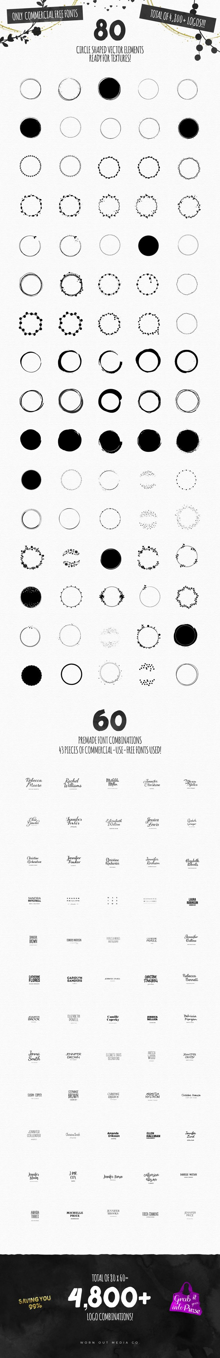 Branding resources comes with commercial license! / Feminine Logo Creator Circle Edition by Worn Out Media Co. on Creative Market